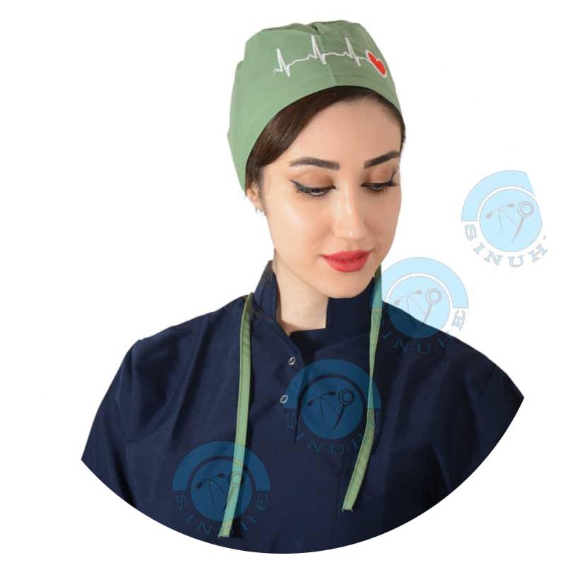 کلاه جراحی سبز پسته ای (طرح قلب)برند Owlet(کوچک)